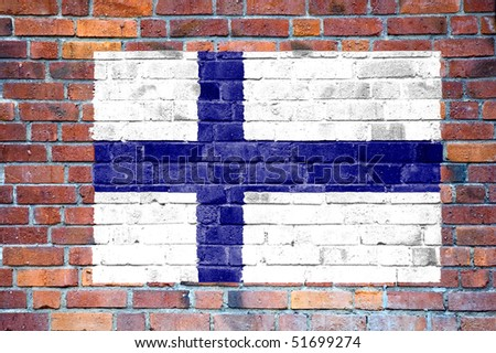 Finnish flag painted on brick wall