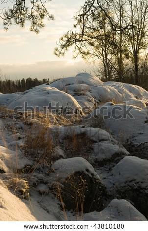 Finnish winter rock landscape