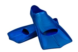 Fins are isolated on a white background. Flippers. Open toe and closed heel for professional swimming and training. Shortened blue flippers