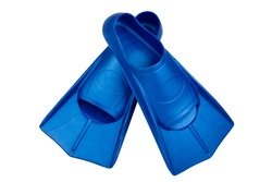 Fins are isolated on a white background. Flippers. Open toe and closed heel for professional swimming and training. Shortened blue flippers.