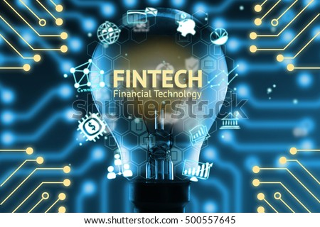 Fintech concept . Icons of financial technology and bank . Light bulb , Infographic , texts and icons. Electric circuits graphic with blue background #500557645