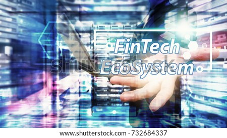 Fintech financial Internet Concept : Business man hold fintech ecosystem technology for finance service ,technology abstract background