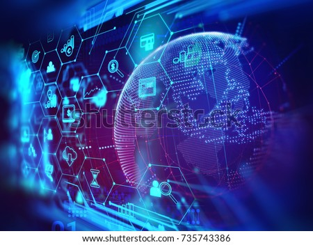fintech icon  on abstract financial technology background represent Blockchain and  Fintech Investment 