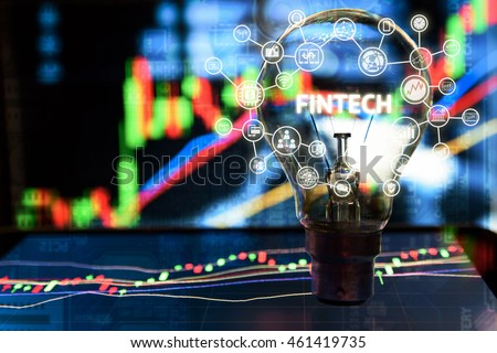 Fintech Investment Financial Internet Technology Concept. Light bulb on tablet and Stock graph and business technology icon with abstract electronic circuit background  #461419735