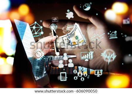 Fintech Investment Financial Technology Concept. P2P Payment concept image.Startup and crowd funding concept.Social network with P2P lending. Smart phone with technology icons coming out from screen.