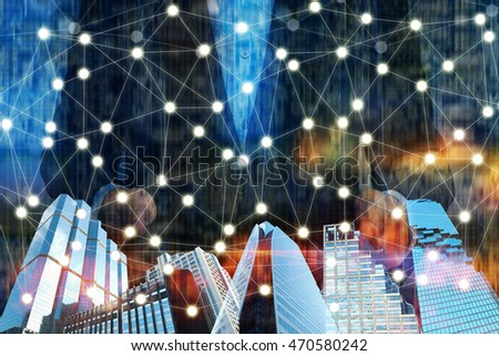 Fintech technology and Blockchain network concept , Distributed ledger technology , building , man suit and Distributed connection with abstract binary background #470580242