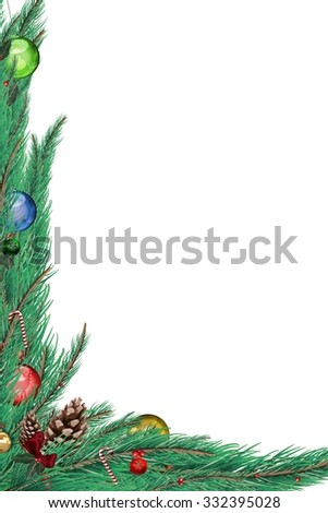 Fir branch frame with decorations on white background #332395028