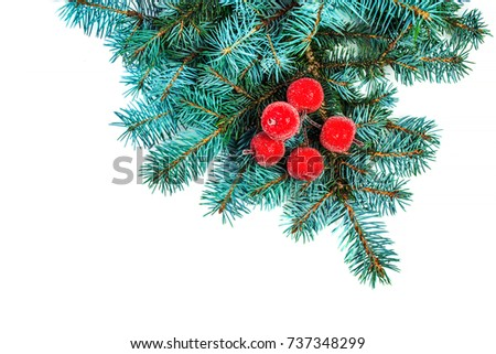 Fir branch with Christmas Decorations isolated on white background close up. Frame made of green spruce branches for your design #737348299