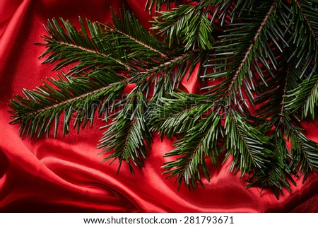 Fir branches on red fabric background