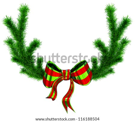 fir branches with bows as a symbol of christmas