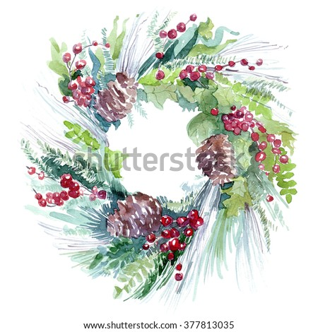 fir garland with berries illustration holiday