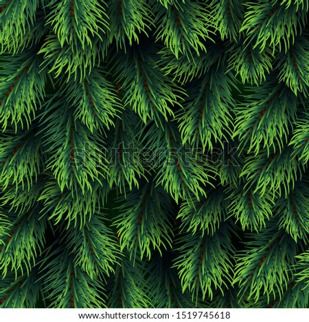 Fir tree branches pattern. Christmas background with green pine branching. Happy new year decor