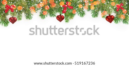 Fir tree branches with snow on white background. Holiday, Christmas, New year concept background. Place of your text.
