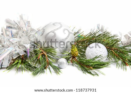 Fir tree evergreen branch with new year decorations