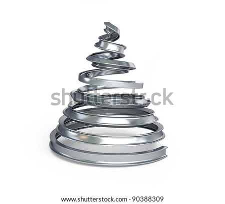 fir tree metal on a white background - stock photo