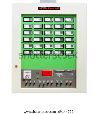 Fire alarm control panel isolated on white