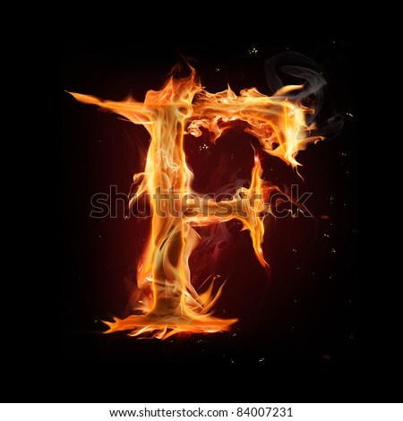 "Fire alphabet letter ""F"""