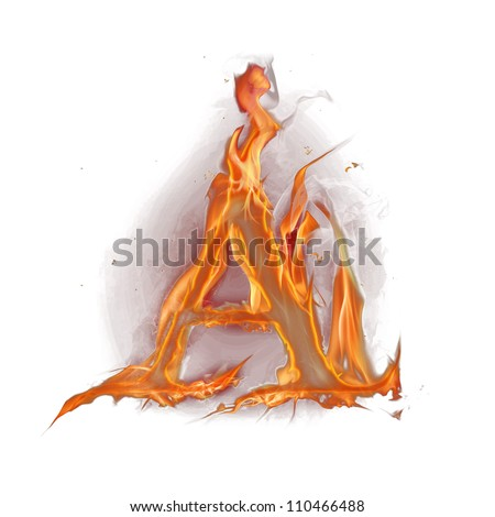 "Fire alphabet letter ""A"" - stock photo"
