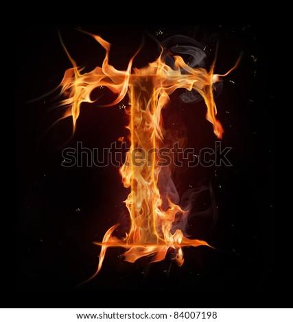 """Fire alphabet letter """"T"""""""