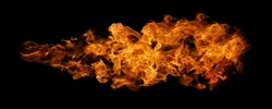 Fire and burning flame torching isolated on black background for graphic design usage