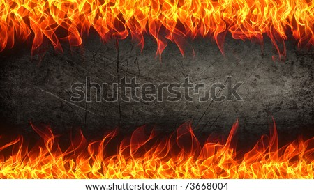 Fire and flame border on rust metal background