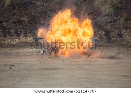fire and movement of car part blown away from explosion in post blast investigation course training #521147707