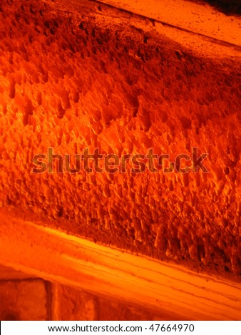 fire and overhangs in the boiler combustion chamber