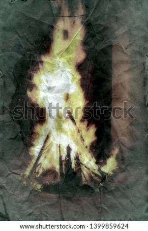 Fire and shape of man in pointed fool's cap inside. Burning of heresiarch, sorcerer (stake, fagoting). The Inquisition. Dark ages. Fantasy in retro style. Imitation of ancient treatise on parchment