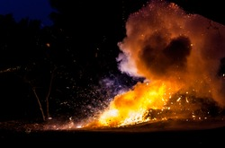 Fire and smoke after fire crackers got fire