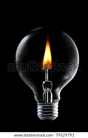 Fire and smoke in side the light bulb. Concept for energy consumption and environmental awareness