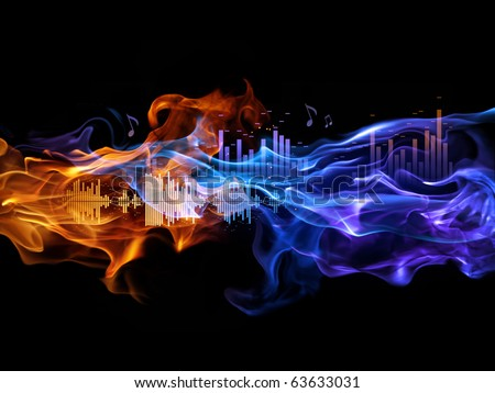 Fire and sound-waves. Music background.