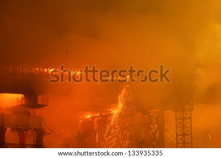 fire at bridge construction site
