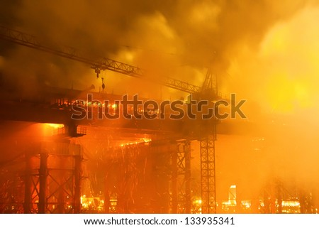 fire at bridge construction site
