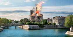 Fire at the Notre Dame Cathedral. Paris, France