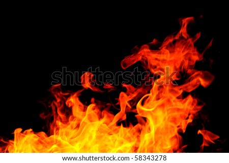 Fire background with bright vivid flame on black background