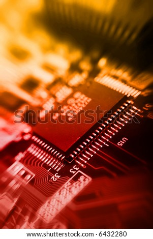 fire background with motherboard's electronic circuit