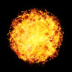 Fire Ball Sphere Circle Flame Burn Explosion Hell Heat Isolated On Black. Overlay Screen Effect.