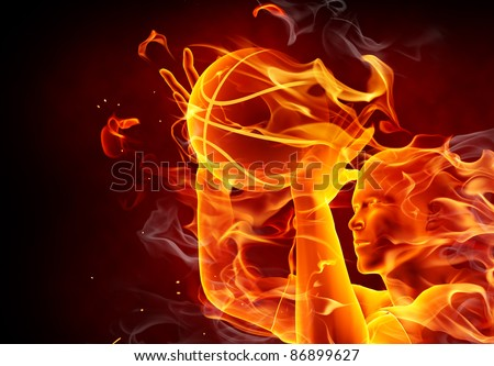 Fire basketball player with a fire ball
