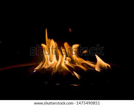 Fire Blazing on a Campfire #1475490851