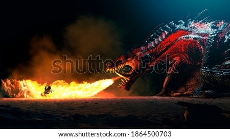 Fire breathes explode from a giant dragon on a heroic medieval knight on a horse in a black night, the epic battle between good and evil - concept art - 3D rendering Photo stock ©