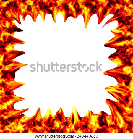 Fire burn on white background with copy space