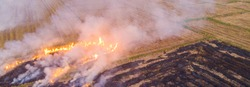 Fire burn on yellow straw rice field with smoke aerial view agricultural industry