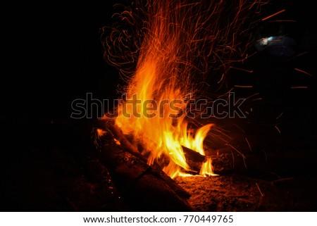 fire. burning dry twigs. night...