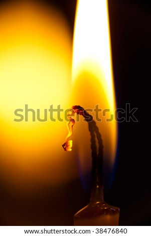 Fire burning in Candle - extremely closeup