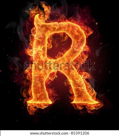 R Letter In Blue Fire Fire Burning Letter &q...