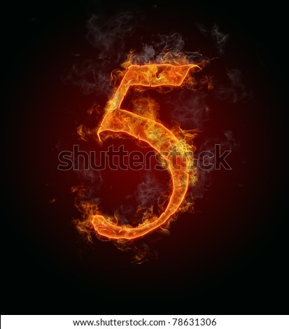 """Fire burning number """"5"""""""