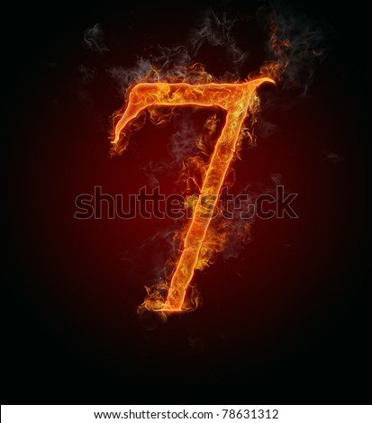 """Fire burning number """"7"""""""