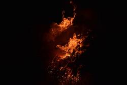 Fire. Burning of rice straw at night.