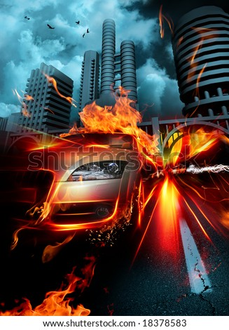 Fire car - stock photo