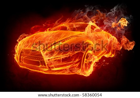 Fire car on a black background. Original car design.